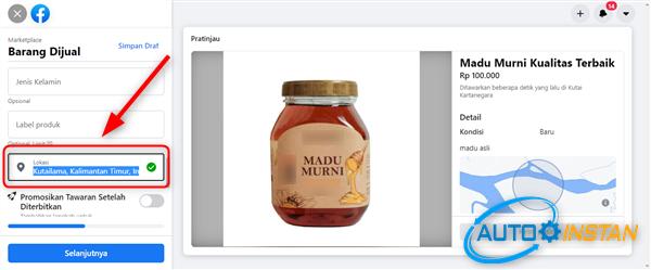 cara mengatur lokasi jualan di facebook marketplace biar laris